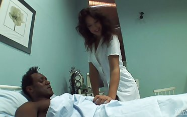 Ill-tempered svelte nurse Olivia Ii treats strong black cock really well