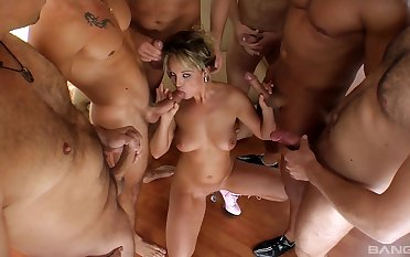 Scalding wife makes out with a bunch be useful to men in dirty gang bang